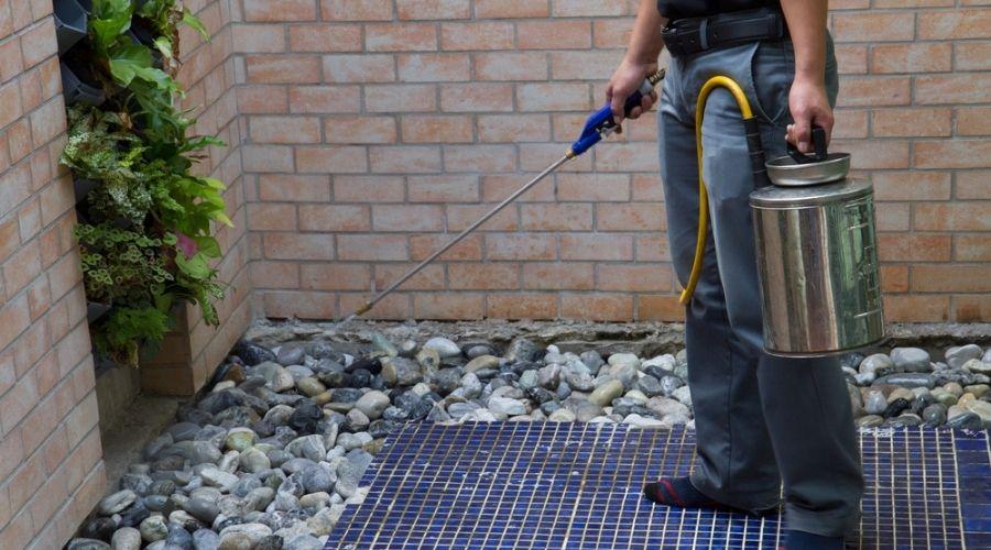 pest control tech spraying patio